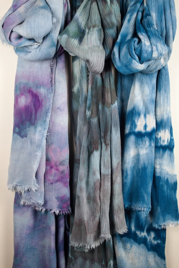 three linen rayon travel scarves snow dyed by doris lovadina-lee