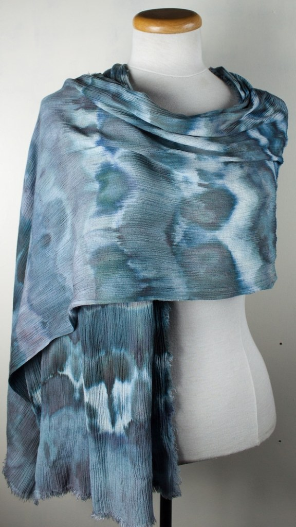 Linen rayon travel scarf in blue by doris lovadina-lee