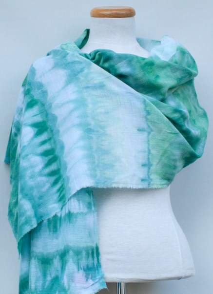 green striped cotton gauze scarf snow dyed draped by toronto artist doris lee