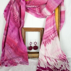 circle earrings and fuchsia linen rayon scarf in frames