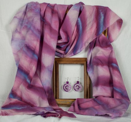 cotton voile scarf in purple and blue snow dyed shibori