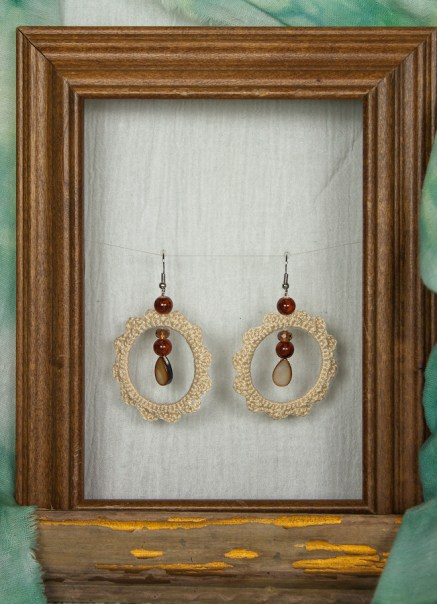 Pair of hoop crochet earrings in cream cotton and brown drops in wooden fram jewellery by maria.n.designs toronto