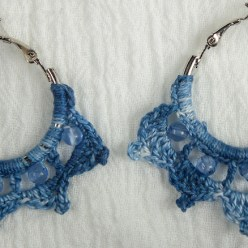 Indigo dyed crocheted hoop earrings made by maria nunes toronto ontario canada