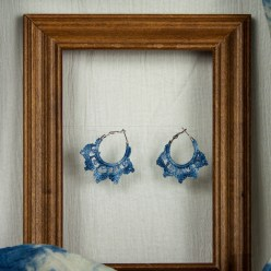 indigo crescent earrings hand dyed cotton crochet thread in frame