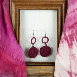 plum cotton crocheted earrings with silver bead by @maria.n.designs toronto ontario canada