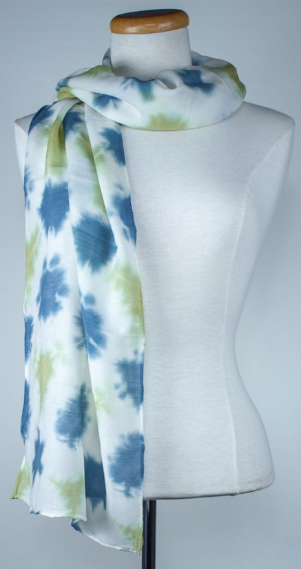 wool and silk itajime shibori scarf in blue and green hand dyed toronto ontario doris lovadinalee