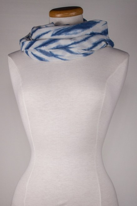 dark blue and white indigo dyed scarf in voile handcrafted in canada