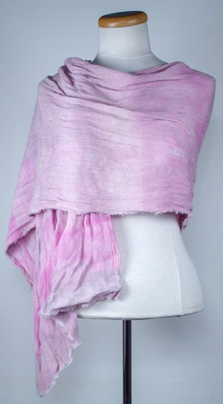 Pink blush crinkle travel scarf draped on mannequin snow dyed in toronto by doris lovadina-lee