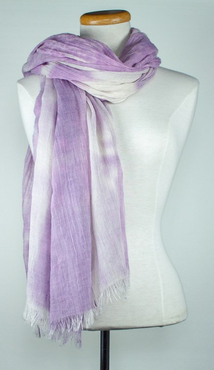 soft mauve shawl with white areas hand dyed doris lovadina-lee toronto textile artist