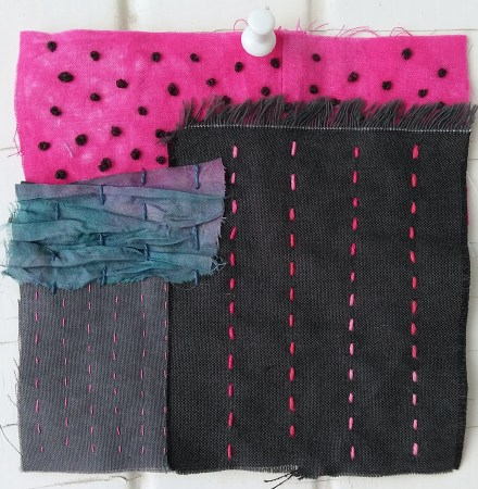 shades of grey, hot pink and iridescent blue scraps embroidered by Doris Lovadina lee toronto ontario quilter