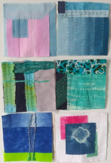 6 five inch squares of embroidered and hand stitched by Doris Lovadina Lee Canadian artist