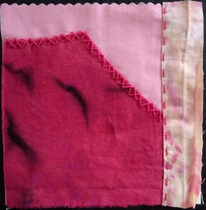 red and pink pieces stitched together with embroidery thread into a 5 inch square stitch meditation by Doris Lovadina-Lee Canadian textile artist