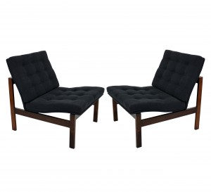 A pair of solid rosewood Danish lounge chairs by Torben Lind & Ole Gjerlov for France & Son