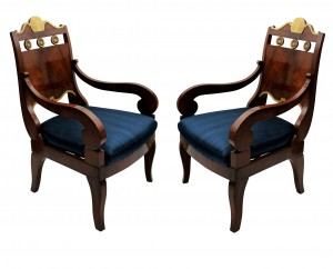 A pair of Russian armchairs