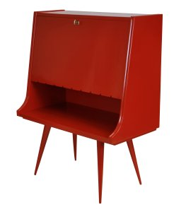 Red Lacquer Bar Cabinet