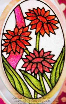 Daisies in Oval Peel-off, coloured with Copic Markers