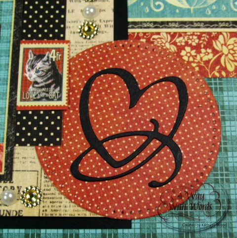 Elizabeth Craft Designs Graphic 45 Suzanne Cannon Way With Words Raining Cats and Dogs Scrapbook Layout Kathy Jo 4