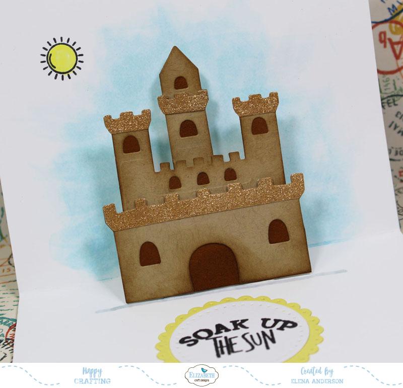 Summery Sand Castle Pop-Up Card Detail