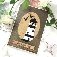 Clean and simple, masculine, Lighthouse card