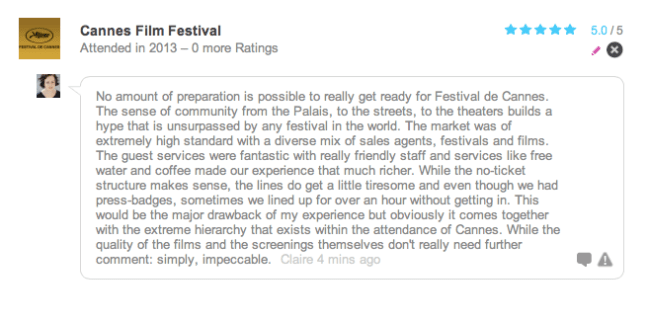 My Rating on FilmFestivalLife