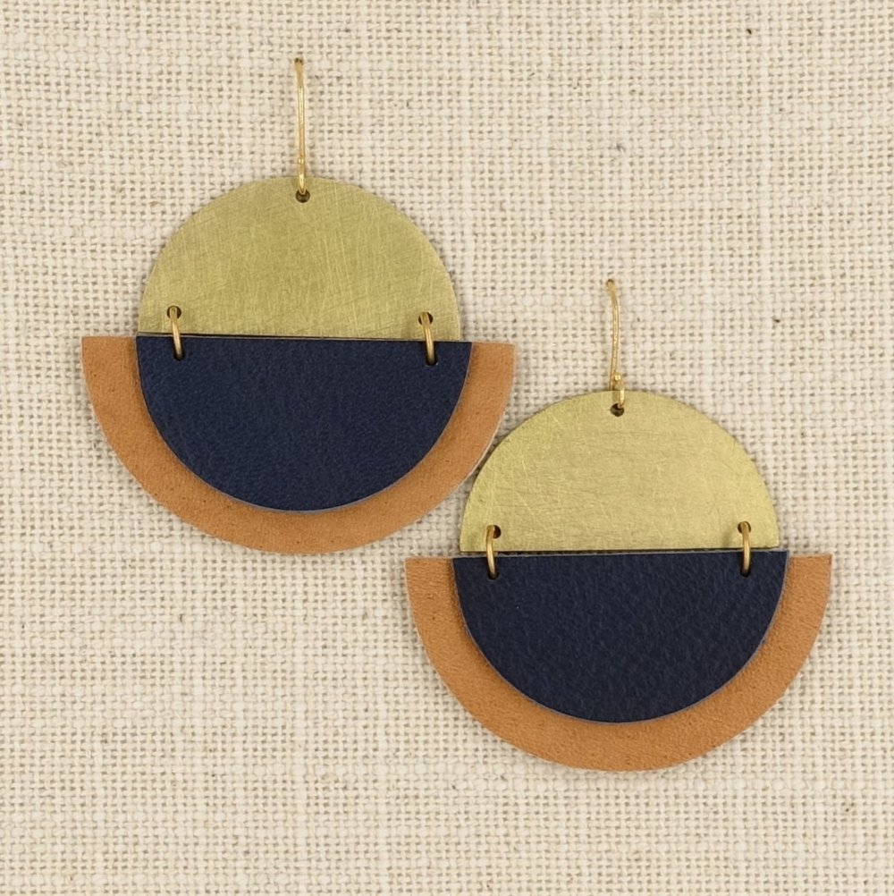 Haden Designs, Brass & Leather Earrings, Raleigh, NC Maker | Gather Goods Co