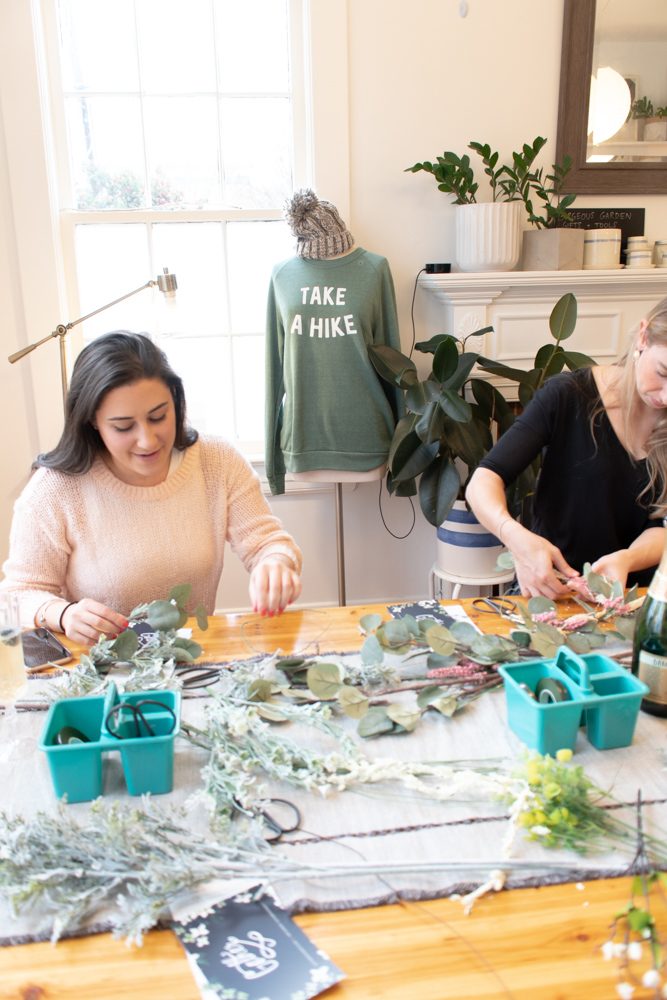 Bridal Shower, Flower Crown Making Party at Gather in downtown Cary, NC