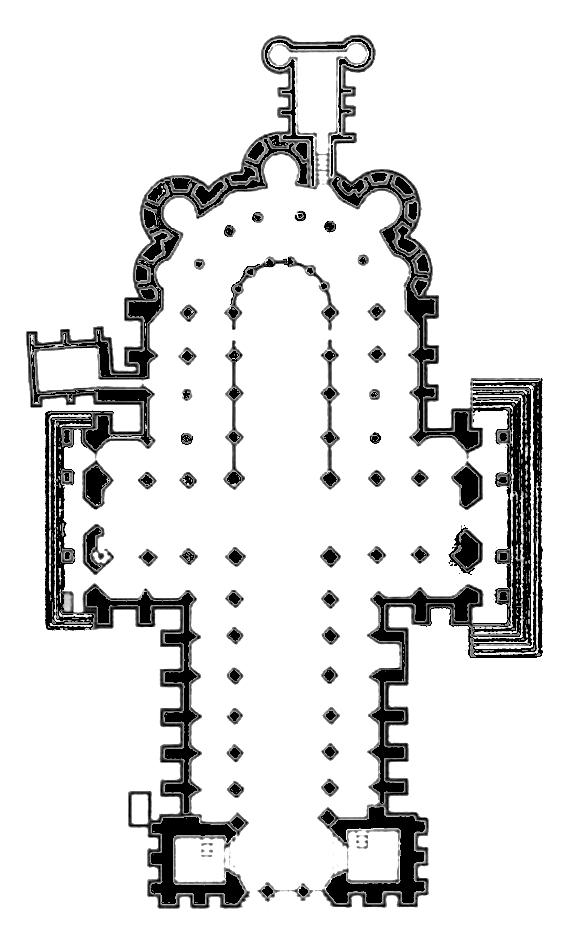 """Plan de la cathédrale """"haute"""""""