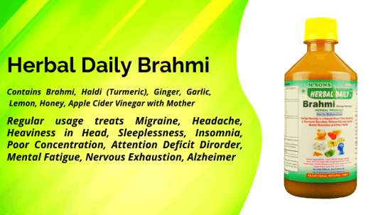 Herbal daily Brahmi best for mental and brain health, Migraine, Headache, Heaviness in Head, Sleeplessness, Insomnia, Poor Concentration, Attention Deficit Dirorder, Mental Fatigue, Nervous Exhaustion, Alzheimer