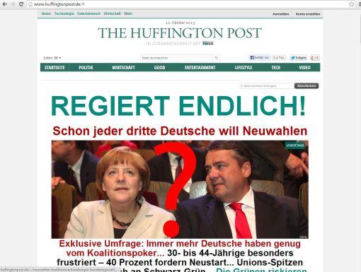 Screenshot der Huffington Post Deutschland