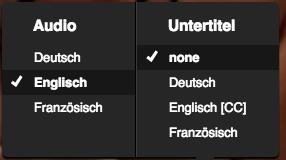 Sprachenauwahl im Netflix Player