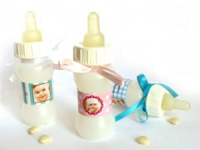 recyclez vos biberon de la maternité pour contenant de dragées baptême