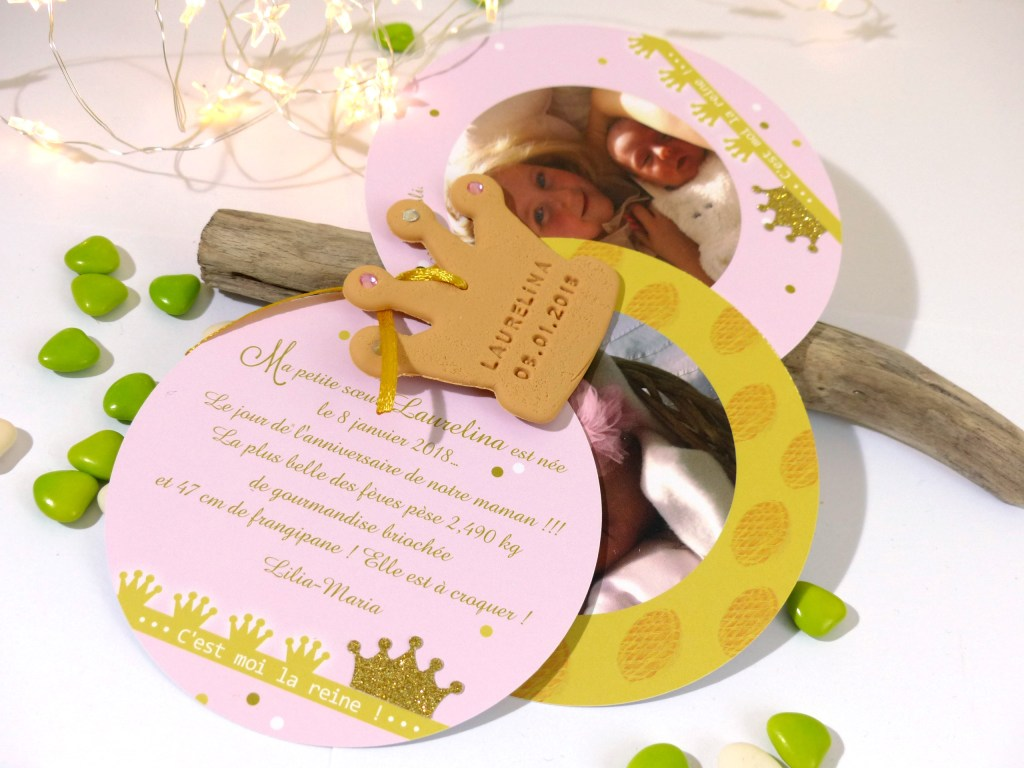 faire-part de naissance, thème couronne, princesse, dorée, rose, rond