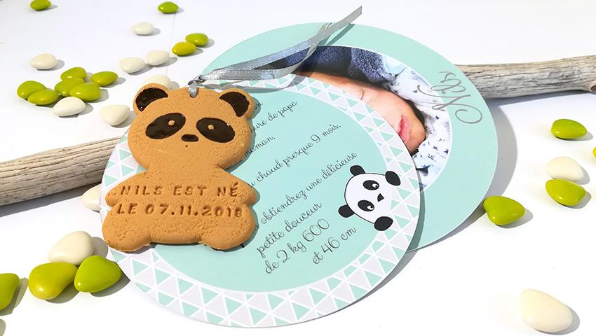 faire-part panda, naissance, bébé, vert d'eau et blanc