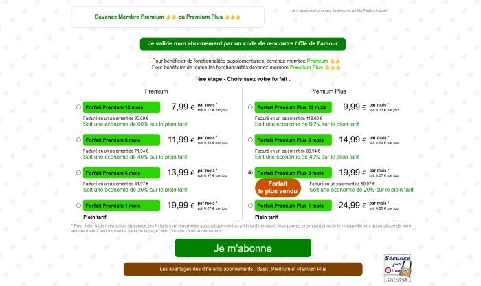 Tarif et Prix Abonnement Premium VIP - ChocoMeet