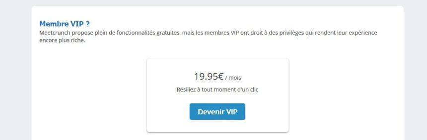 Prix et Tarifs Abonnement VIP - Meetcrunch