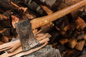 Ax in firewood