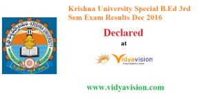 KRU B.Ed 3rd Sem Results 2016