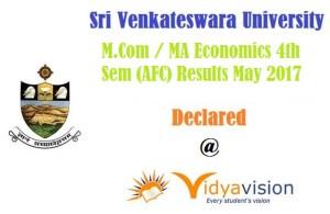 SVU M.Com / MA Economics 4th Sem (AFC) Results May 2017