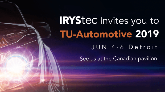 IRYStec invites you to TU-Automotive Detroit