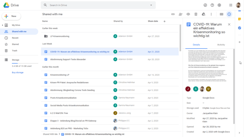 Google Drive for sharing and collaborating on documents