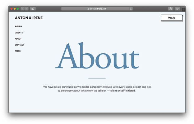 This About page presents a great example for a professional and minimalist blog design