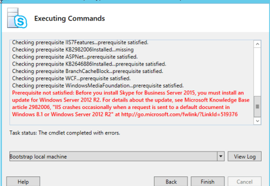 Prerequisite not satisfied: Before you install Skype for Business Server 2015, you must install an update for Windows Server 2012 R2.