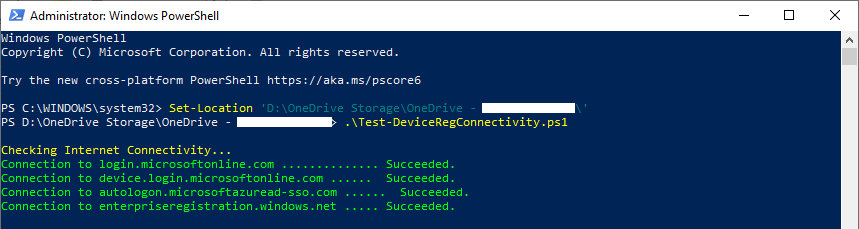 Testing Device Registration Connectivity for Microsoft Intune