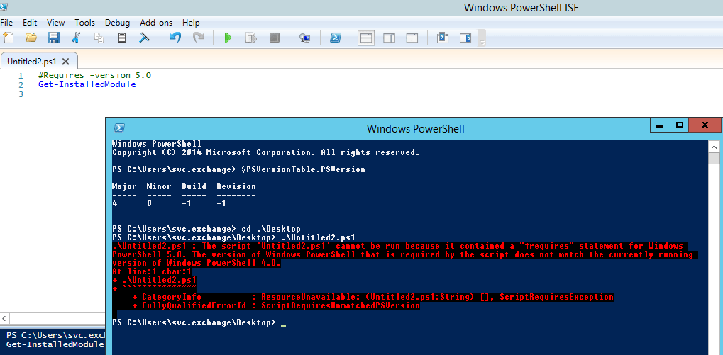 Making your PowerShell script require a particular version of PowerShell to be installed.
