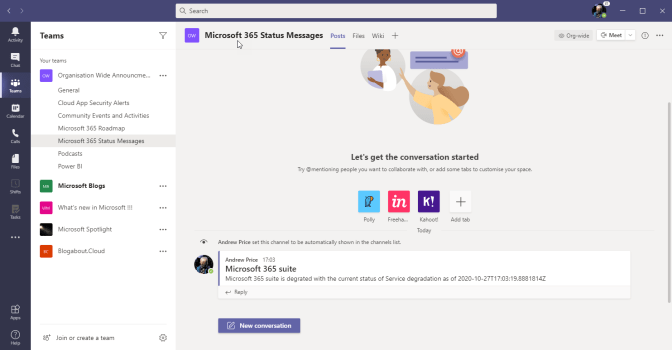 Bringing Power Automate and Office 365 Service Communications API v2 together to deliver Current Status into Microsoft Teams.