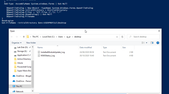 PowerShell – Prompt for file using Windows Explorer