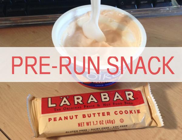 Pre-run snack: greek yogurt and a larabar