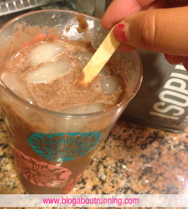 Isopure Dutch Chocolate mixed with water