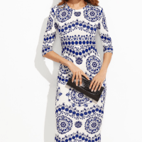 SHEIN - Porcelain Print Pencil Dress