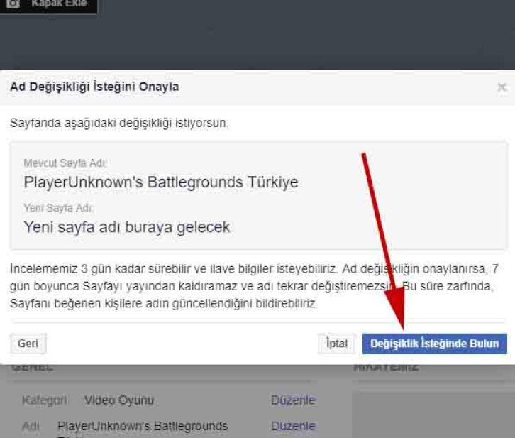 facebook sayfa adı değişikliğini talebini onayla